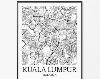 Kuala Lumpur Map Art Print, Kuala Lumpur Poster Map of Kuala Lumpur Decor, Kuala Lumpur Map Art, Kuala Lumpur Gift, Kuala Lumpur Art Poster