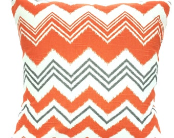 SALE Orange Gray Chevron Pillow Covers, Decorative Throw Pillows, Cushions, Pillows for Couch Orange Grey White Zazzle One or More All Sizes