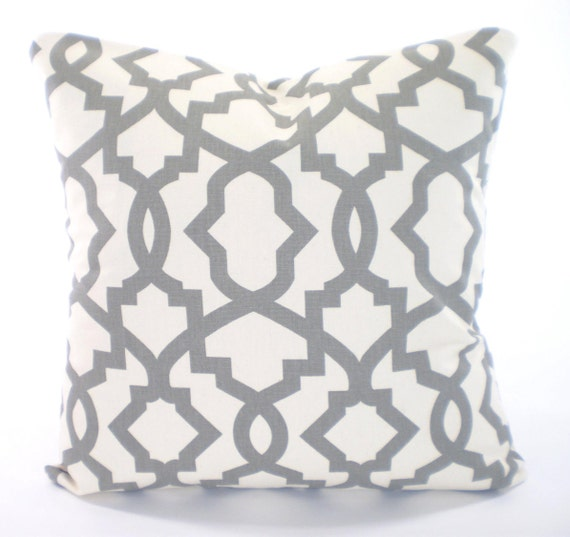 Decorative Cream Pillows : Gray Cream Decorative Throw Pillow Covers by PillowCushionCovers