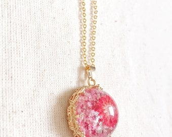 Pressed Daisy Necklace Gold Filled, Dried Pink Flower Real Petal Preserved Nature Botanical Romantic Wedding Birthday Valentine Gift For Her