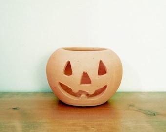 Vintage Pumpkin Pottery Planter or Candle Holder