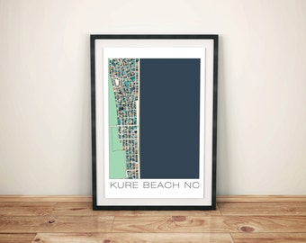 Kure Beach Print, Kure Beach NC, Beach House Decor, Wall Art, Kure Beach Art, Kure Beach Map, Map Art