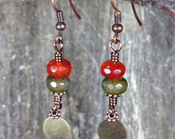 Mixed Metal Agate Earrings
