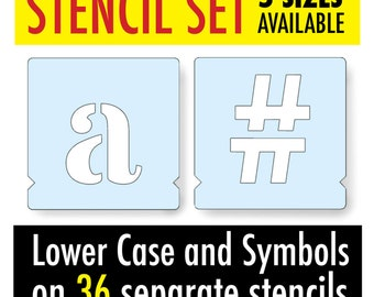 Alphabet Letters Stencil ROMAN LOWER CASE and symbols (hashtag) - 5 Sizes on 36 Separate Stencils for Signs, Furniture Painting Projects