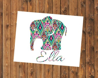 Free Shipping-Elephant Decal, Lilly Pulitzer Decal, Personalized Elephant Sticker,Yeti Car Decal, Tumbler Decal, Personalized Decal,