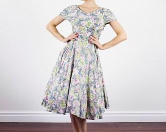 Vintage 1950s Monet Floral Sundress / Cotton 50s Dress / Full Skirt / Pleated Sleeves / XS/S