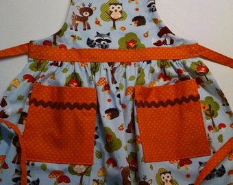 Girls Apron  with Pockets Girls Forest Animal Apron