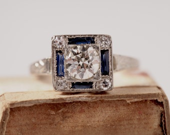 Circa 1930 - Art Deco 18K White Gold .50ct Old European Cut Diamond and Sapphire Engagement Ring - DBK#