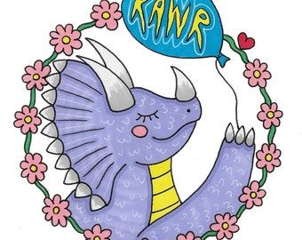 SMALL illustration cute triceratops dino dinosaur lilac pastel