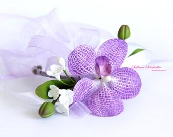 Flower bracelet, purple orchid bracelet, Wedding bracelet, Bracelet purple flowers,  Bride bracelet bracelet, cold porcelain