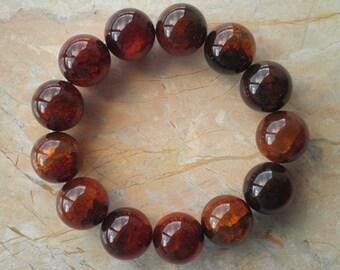 Translucent Dark Brown Jade Bead Stretch Bracelet