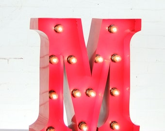"15""/ 38cm Mains Powered Vintage Marquee Letter Light - Letter M - Floor Light - Letter Prop/Display - Available in Rusty or Red"