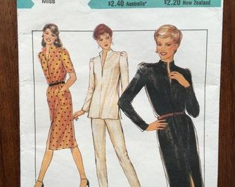 1980 Style Pattern 3064 Dress Set Size 12 Uncut Split collar neckline top and dress  two lengths, elasticized narrow leg trousers
