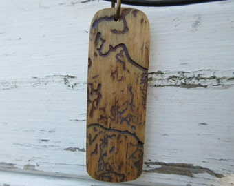 Wooden Necklace, Wooden Pendant, Bohemian, Mountains, Eco Jewelry, Nature Lover