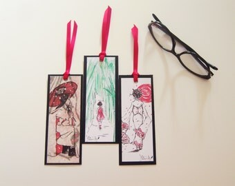 Matita's Art Bookmark from Original Illustrations - Japanese bookmark - Personalized bookmark - Custom bookmark - Handmade bookmark.