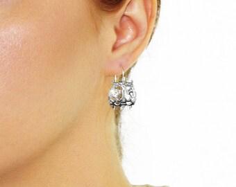 Owl Earrings, Animal Earrings, Silver Filigree Earrings, Silver Owl Earrings, Minimalist, gift for her, Dainty Filigree Minimal Owl Charm