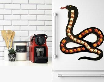 Large Black Snake Nespresso Capsule Holder, Coffee Pod Storage, Snake Lover Gift, Snake Wall Decor Gift Reptile Decor Art, Coffee Lover Gift