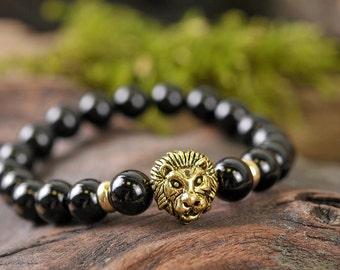 Onyx bracelet, lion bracelet, gemstone bracelet, stone bracelet, gold bracelet, beaded bracelet, black bracelet, black onyx bracelet