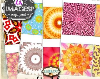 MANDALAS 4x4 inch square digital collage sheets - coaster greeting cards card making magnets - instant download printable -big bundle qu479
