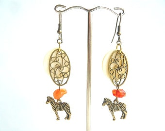 Horse Dangle Earrings Mother of Pearls Earrings Carnelian Earrings Orange Gemstone Earrings Gift For Her Bronze earrings Zebra// BO0195