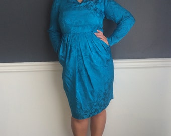 80's Teal Dress With Pockets- Size 8