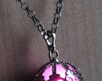 Pink Ornate Glowing Orb Pendant Necklace Locket Black, Romantic Gift for Her, glow Jewelry