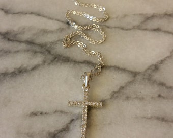 Vintage Dainty Silver Cross with Rhinestones Necklace
