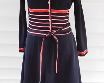 Vintage 1970s Sweater Dress Black with Red Stripes