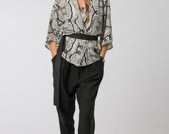Snake Print Kimono- Bohemain Kimono, Short Kimono, Boho Kimono, Cover Up, Kimono Jacket, Womens Kimono, Womens Gift