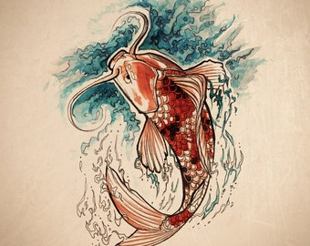 "Print -  ""Koi Splash"" from original watercolour and ink painting"