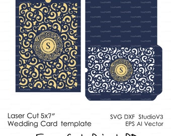 SALE 50% Envelope lace swirl monogram wedding card Invitation template ( svg, dxf, ai, eps, png) laser cut pattern Stencils Digital Download