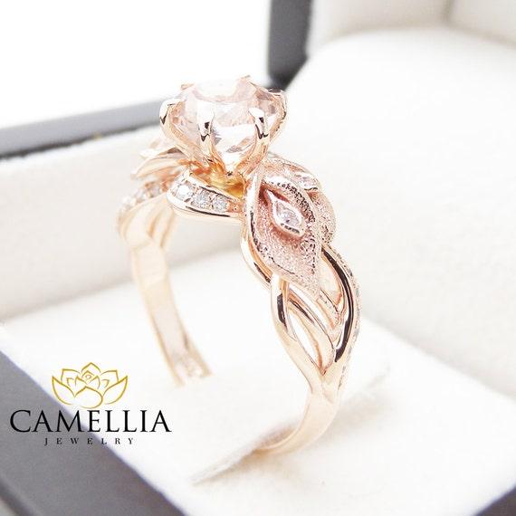 14k Rose Gold Morganite Engagement Ring Calla By