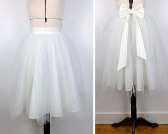 IVORY tulle knee length prom skirt, bridal, bridesmaid, christmas party, New Years, wedding