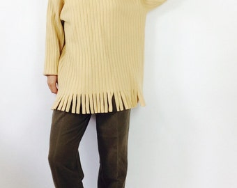 Ribbed wool sweater vintage sweater vintage wool sweater womens M sweater vintage yellow sweater long wool sweater with fringe sweater m