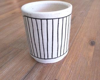 Black and White Striped Handmade Ceramic Tumbler