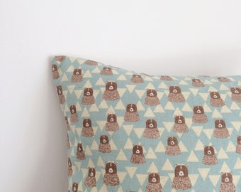 Bear and triangle cushion, feather insert included.
