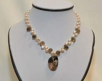 Freshwater Pearl Smokey Quartz Sterling Silver Necklace