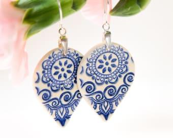Blue dangle earrings porcelain earrings Blue and white ceramic earrings Blue white porcelain Clay earring Sterling silver blue gifts for her