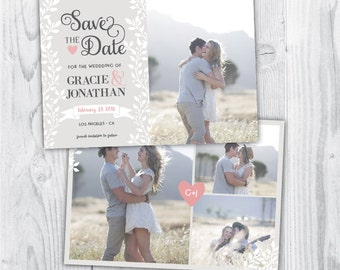 save the date, save the date template, simple save the date, laurel save the date, save the date cards, laurel, grey, white, pink, blush