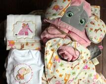 Hooded elephant towel, binky bib, mini blanket, onsie and burp cloth (in pink)