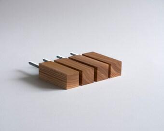 Ash wood wall hooks/Coat hook/Towel hook/Hanger/Storage/Holder/Peg/Wall mount/Nursery/Industrial/Minimalist/Rustic/Decor/Eco/Gift/SET OF 4
