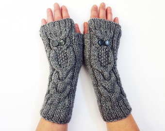Fingerless  Gloves, Knit Owl Gloves, Clothing Gift, Owl Arm Warmer, Outdoors gift, Knit Gloves, knit accessories, Fingerless Mittens