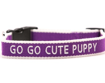 ECO Friendly Personalized Embroidered Dog Collar - Purple and White