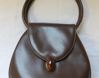 Vintage Brown Leather Handbag with Attached Coin Purse