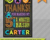 Little monster birthday, Thank You Card, Monster theme, Monster party printable, Monster Birthday Invitation, first birthday, 1st birthday