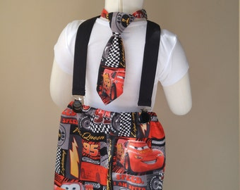 Disney Cars Outfit with Necktie and Suspenders,  Boys Outfit, Suspender Outfit, Outfit with Tie and Suspenders, Theme Outfit