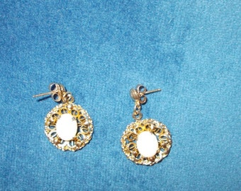 Vintage 12k gold plated and Genuine White Opal Post Earrings