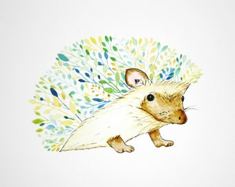 Watercolour Hedgehog, Nursery Wall Art Print, Animal Painting, Hedgehog Print, Animal Print, Nursery Print, Hedgehog Painting