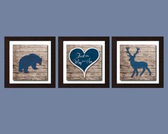 Just The Way You Are Print, Forest Animal Nursery, Forest Nursery, Boys Bedroom Wall Art, Boys Bedroom Decor, Navy Blue Decor, Deer Bear Art