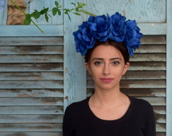 Classic Blue Frida Kahlo Flower Crown Headpiece - Day of the Dead - Sugar Skull